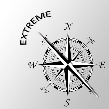 latitude: Illustration of extreme word written compass