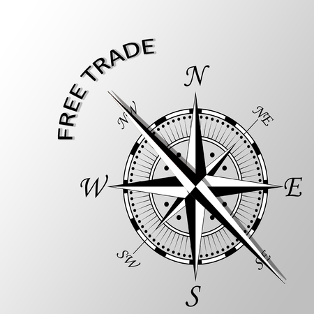 free enterprise: Illustration of free trade written aside compass