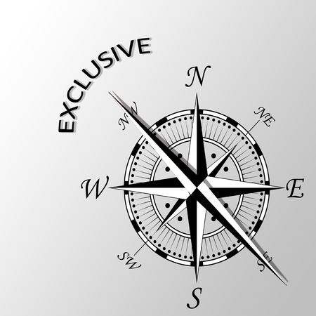 Illustration of exclusive written aside compass; Stock Photo