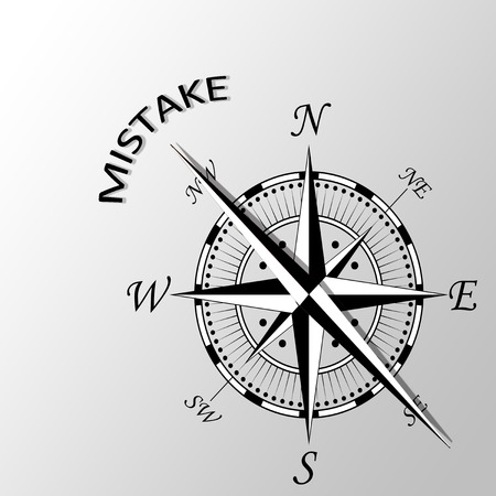 misconception: Illustration of mistake word written aside compass