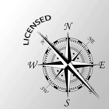 Illustration of Licensed word written aside compass Stock Photo