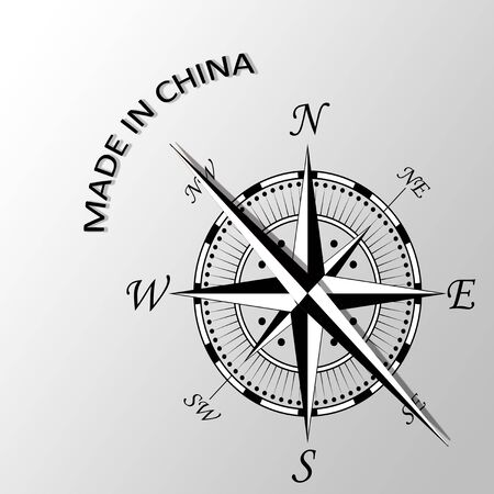 Illustration of Made in China written aside compass