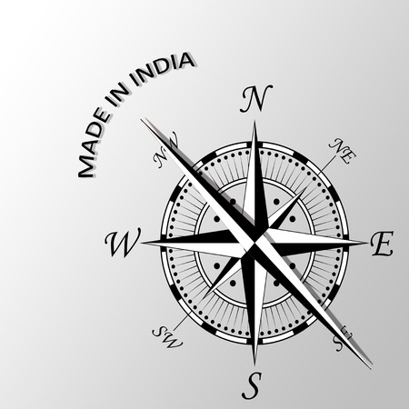 controlled: Illustration of Made in India written aside compass Stock Photo
