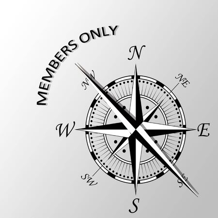 aside: Illustration of Members only written aside compass Stock Photo