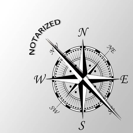 certify: Illustration of Notarized word written aside compass