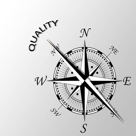 calibre: Illustration of Quality word written aside compass