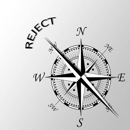 exclude: Illustration of word reject written aside compass Stock Photo