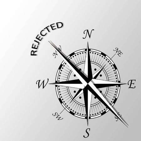 exclude: Illustration of rejected word written aside compass