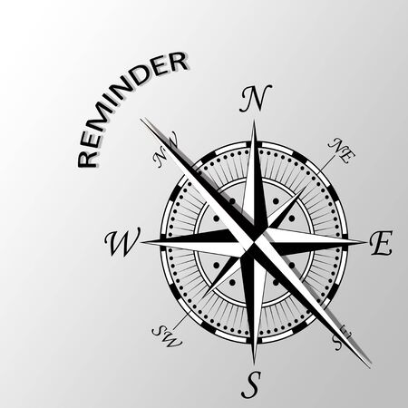 Illustration of Reminder written aside compass