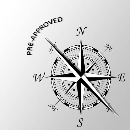 Illustration of pre-approved word written aside compass Stock Photo