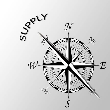 latitude: Illustration of Supply written aside compass