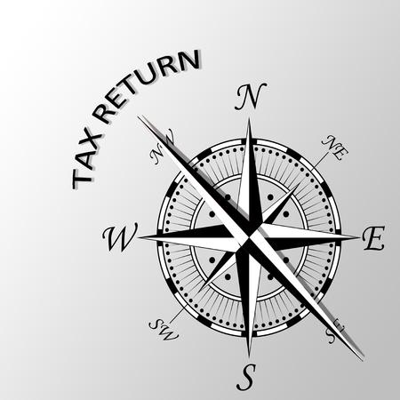 Illustration of Tax return written aside compass Stock Photo