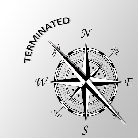 conclude: Illustration of Terminated word written aside compass Stock Photo