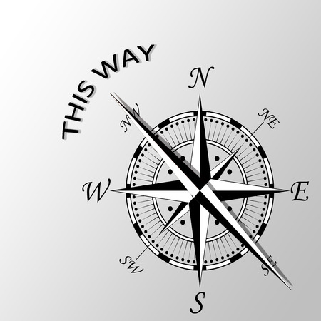Illustration of this way written aside compass Stock Photo