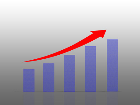 Illustration of Bar graph with arrow showing growth