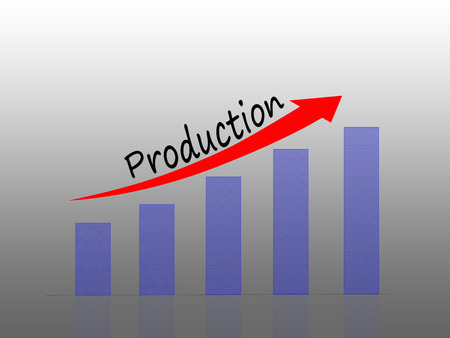 Illustration of Bar graph representing increase in production