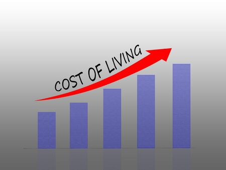 Illustration of Cost of living in bar graph concept