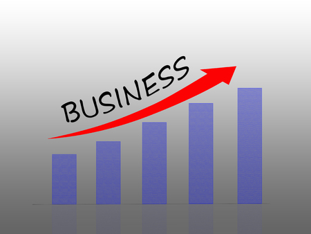 Illustration of Bar graph showing business growth