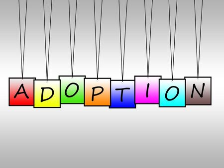 adoption: Illustration of word adoption written on hanging tags