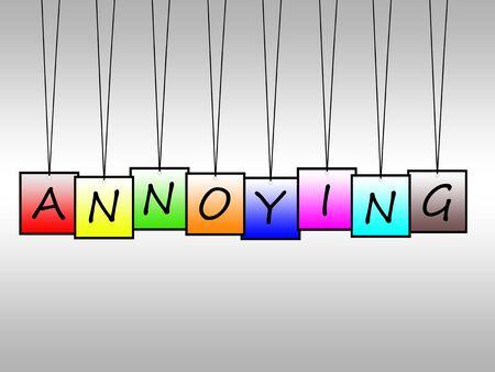 molesto: Illustration of word annoying written on hanging tags