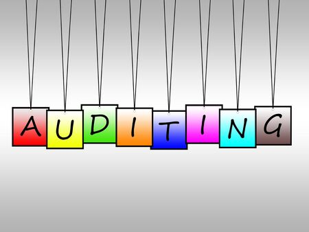 auditing: Illustration of word auditing written on hanging tags