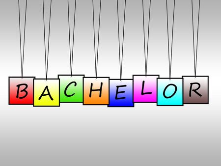 bachelor: Illustration of bachelor word written on hanging tags