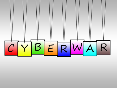 cyberwarfare: Illustration of cyberwar written on hanging tags