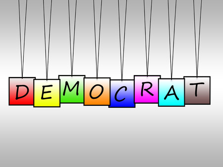 egalitarian: Illustration of democrat word written on hangings tags Stock Photo
