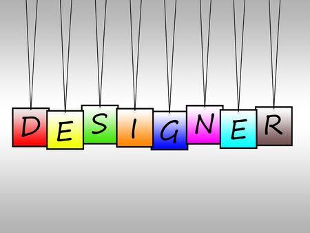 Illustration of designer word written on hanging tags