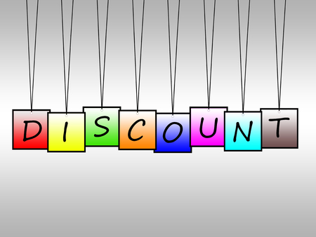 concession: Illustration of discount word written on hanging tags