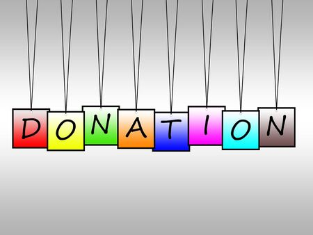 handout: Illustration of donation word written on hanging tags