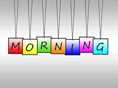 dawning: Illustration of morning word written on hanging tags