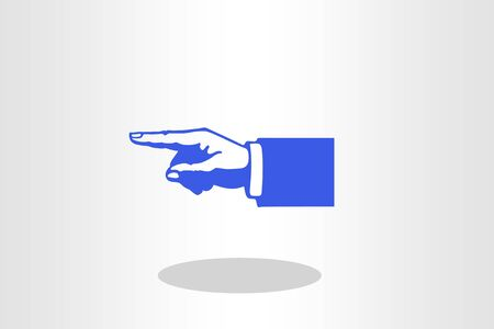 Blue hand silhouette with pointing finger. direction sign