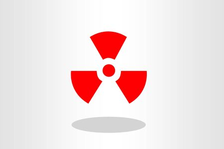 fission: red Radioactive icon radiation symbol on plain background Stock Photo