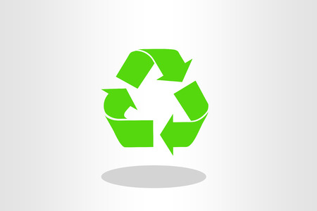 Illustration of green recycle sign on plain background