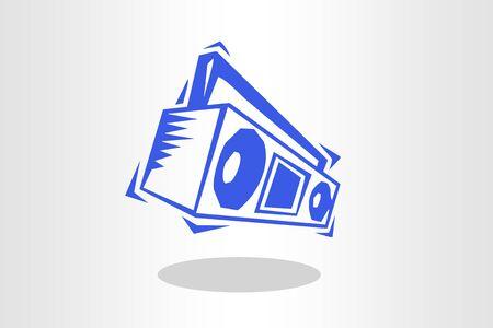 Retro ghetto blaster in blue