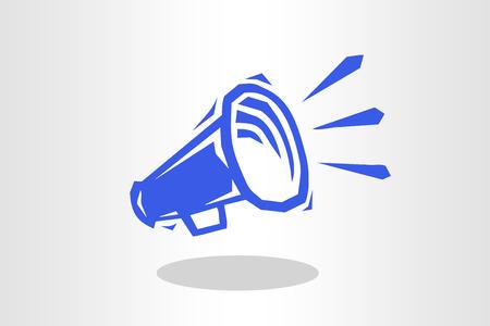 Illustration of megaphone in blue
