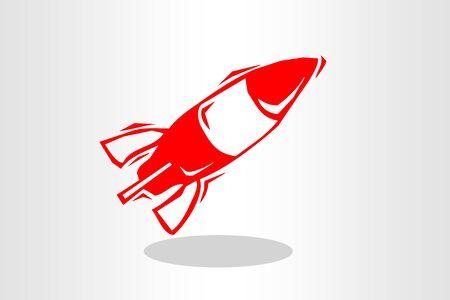 Illustration of rocket, spacecraft icon