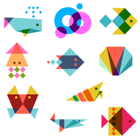 sea animals: sea animals vector icons illustration