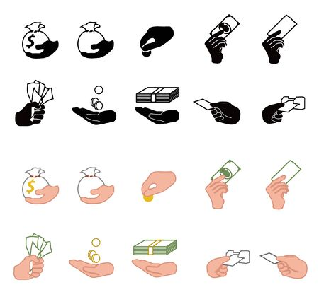 wad: Cash in hand vector icons illustration