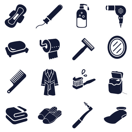 toiletries: Toiletries vector icon collection