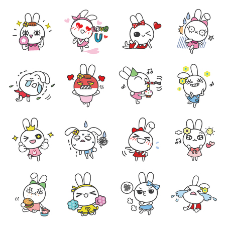 grumble: Bella Bunny cartoon character vector icons