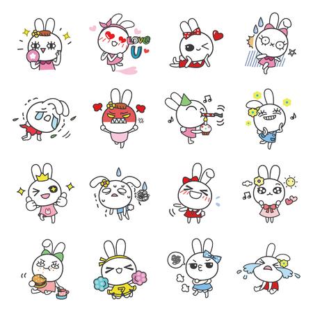 Bella Bunny cartoon character vector icons