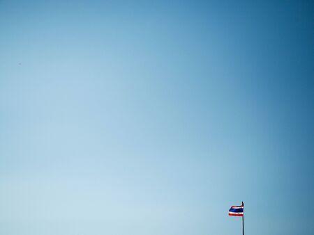 thai flag: Blue sky with thai flag. Stock Photo