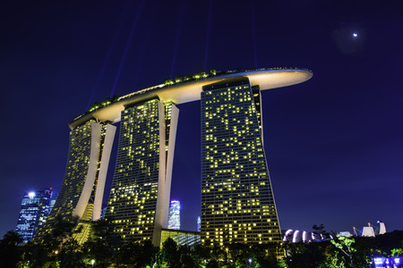 Marina Bay Sands Hotel at Night Editorial