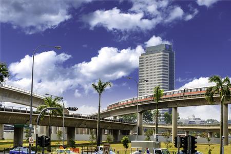 Singapore MRT Train passing on the elevated bridge