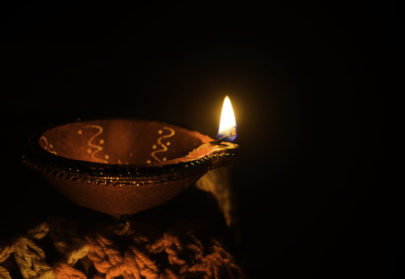 Clay oil lamp, Diya used for decoration on the ocassion of diwali festival in india