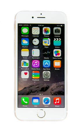 New Apple iPhone 6 with iOS 8 screen display isolated