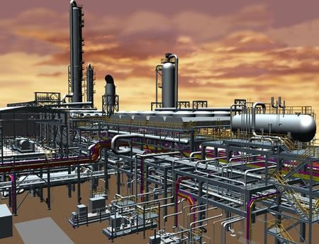 Oil & Gas Plant 3D Model View