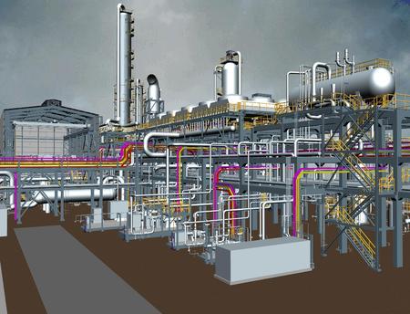 Oil & Gas Plant 3D Model View Reklamní fotografie - 34892697
